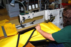 Commercial sewing machines are used on heavy materials. Lock stitch and other methods are used on commercial and military products