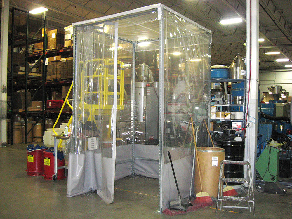Weld Curtain Enclosures : Modular curtain enclosure amcraft radio frequency