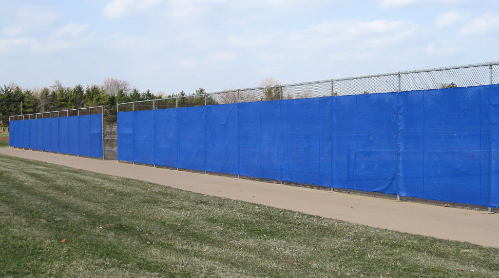 Windscreen is attached to fencing on construction sites to block the wind.