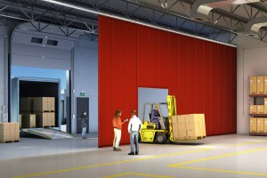 loading dock curtain in warehouse
