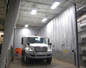Acoustic Curtains are used to aid in noise reduction.